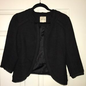Classic cropped tweed open front blazer